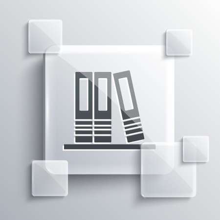Grey Office folders with papers and documents icon isolated on grey background. Office binders. Archives folder sign. Square glass panels. Vector