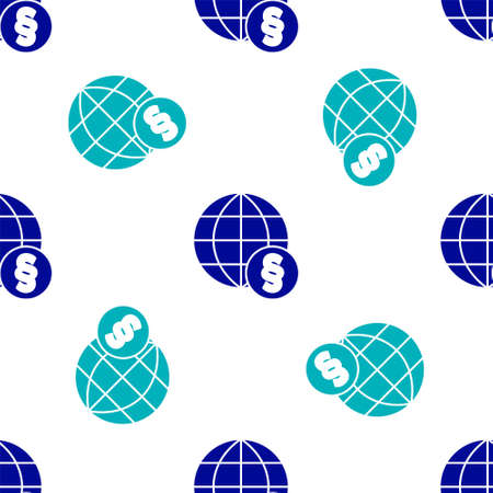 Blue International law icon isolated seamless pattern on white background. Global law logo. Legal justice verdict world. Vector
