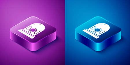 Isometric Flasher siren icon isolated on blue and purple background. Emergency flashing siren. Square button. Vector Vektorgrafik