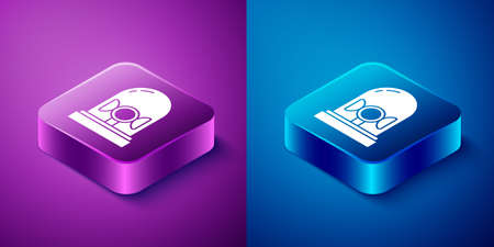 Isometric Flasher siren icon isolated on blue and purple background. Emergency flashing siren. Square button. Vector