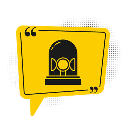 Black Flasher siren icon isolated on white background. Emergency flashing siren. Yellow speech bubble symbol. Vector