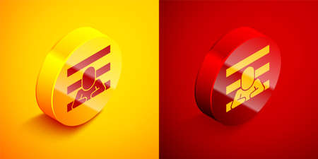 Isometric Prisoner icon isolated on orange and red background. Circle button. Vector