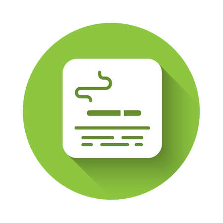 White Smoking area icon isolated with long shadow. Green circle button. Vector