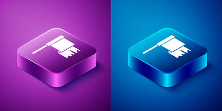 Isometric Pirate flag icon isolated on blue and purple background. Square button. Vector