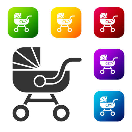 Black Baby stroller icon isolated on white background. Baby carriage, buggy, pram, stroller, wheel. Set icons in color square buttons. Vector