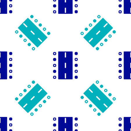 Blue Airport runway for taking off and landing aircrafts icon isolated seamless pattern on white background. Vector Иллюстрация