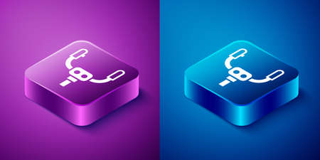 Isometric Aircraft steering helm icon isolated on blue and purple background. Aircraft control wheel. Square button. Vector Illusztráció