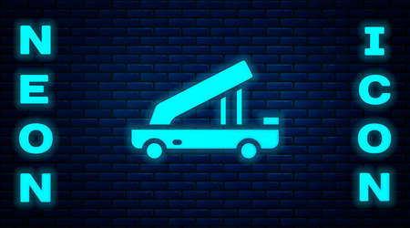 Glowing neon Passenger ladder for plane boarding icon isolated on brick wall background. Airport stair travel. Vector