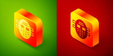 Isometric Hockey mask icon isolated on green and red background. Square button. Vector