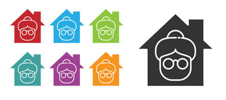 Black Nursing home building icon isolated on white background. Health care for old and sick people. Center for retired people. Set icons colorful. Vector Векторная Иллюстрация