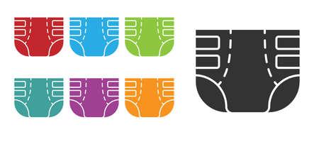 Black Adult diaper icon isolated on white background. Set icons colorful. Vector Ilustração