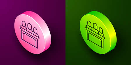 Isometric line Jurors icon isolated on purple and green background. Circle button. Vector Illusztráció
