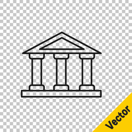 Black line Courthouse building icon isolated on transparent background. Building bank or museum. Vector