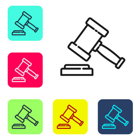 Black line Judge gavel icon isolated on white background. Gavel for adjudication of sentences and bills, court, justice. Auction hammer. Set icons in color square buttons. Vector