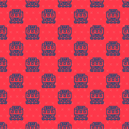 Blue line Restaurant train icon isolated seamless pattern on red background. Vector