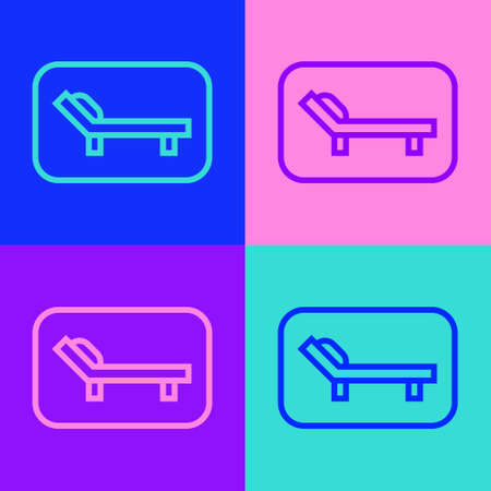 Pop art line Sunbed icon isolated on color background. Sun lounger. Vector Illustration