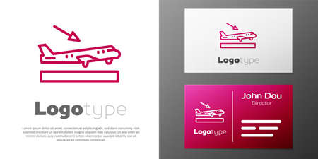 Logotype line Plane landing icon isolated on white background. Airplane transport symbol. Logo design template element. Vector