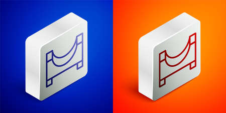 Isometric line Skate park icon isolated on blue and orange background. Set of ramp, roller, stairs for a skatepark. Extreme sport. Silver square button. Vector