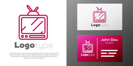 Logotype line Retro tv icon isolated on white background. Television sign. Logo design template element. Vector