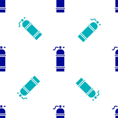Blue Aqualung icon isolated seamless pattern on white background. Oxygen tank for diver. Diving equipment. Extreme sport. Sport equipment. Vector Illustration