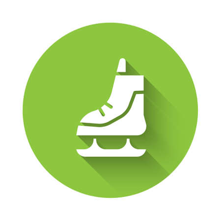 White Skates icon isolated with long shadow. Ice skate shoes icon. Sport boots with blades. Green circle button. Vector Illustration