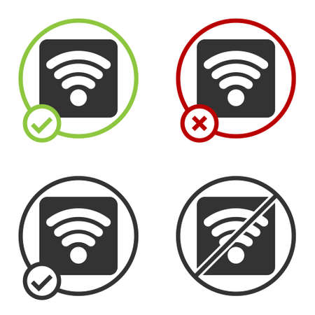 Black WiFi wireless internet network symbol icon isolated on white background. Circle button. Vector Illustration Ilustração