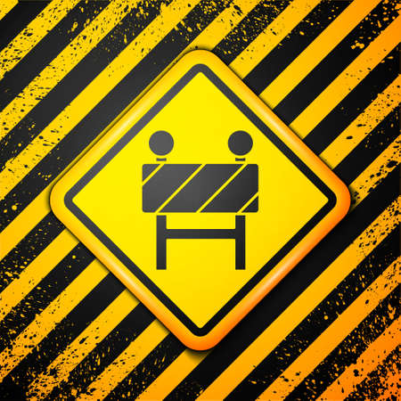 Black Road barrier icon isolated on yellow background. Symbol of restricted area which are in under construction processes. Repair works. Warning sign. Vector Illustration