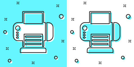 Black line Printer icon isolated on green and white background. Random dynamic shapes. Vector