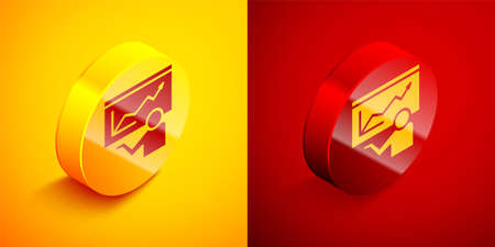 Isometric Training, presentation icon isolated on orange and red background. Circle button. Vector