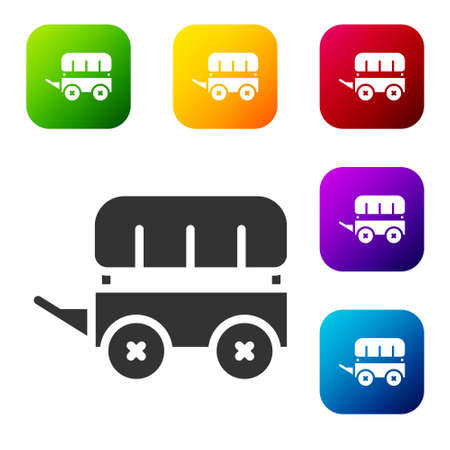 Black Wild west covered wagon icon isolated on white background. Set icons in color square buttons. Vector Vecteurs