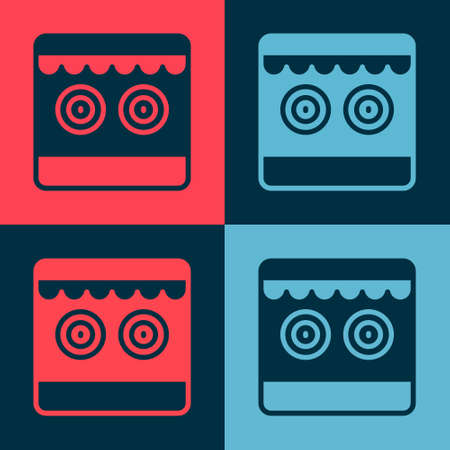 Pop art Shooting gallery icon isolated on color background. Vector