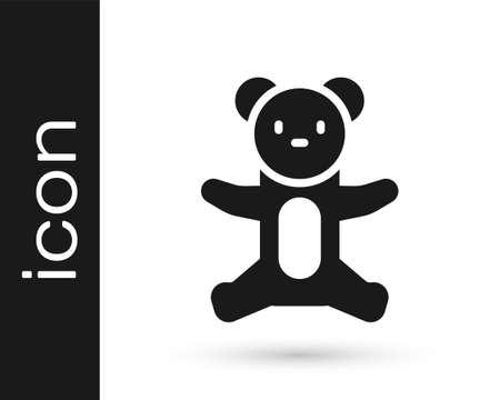 Black Teddy bear plush toy icon isolated on white background. Vector Illusztráció