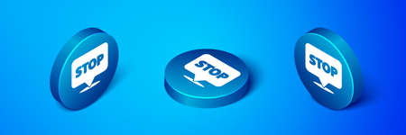 Isometric Protest icon isolated on blue background. Meeting, protester, picket, speech, banner, protest placard, petition, leader, leaflet. Blue circle button. Vector