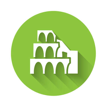 White Coliseum in Rome, Italy icon isolated with long shadow. Colosseum sign. Symbol of Ancient Rome, gladiator fights. Green circle button. Vector