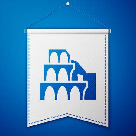 Blue Coliseum in Rome, Italy icon isolated on blue background. Colosseum sign. Symbol of Ancient Rome, gladiator fights. White pennant template. Vector