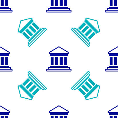 Blue Parthenon from Athens, Acropolis, Greece icon isolated seamless pattern on white background. Greek ancient national landmark. Vector