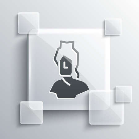 Grey Ancient bust sculpture icon isolated on grey background. Square glass panels. Vector
