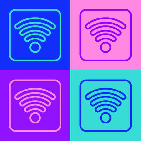Pop art line WiFi wireless internet network symbol icon isolated on color background. Vector Illustration