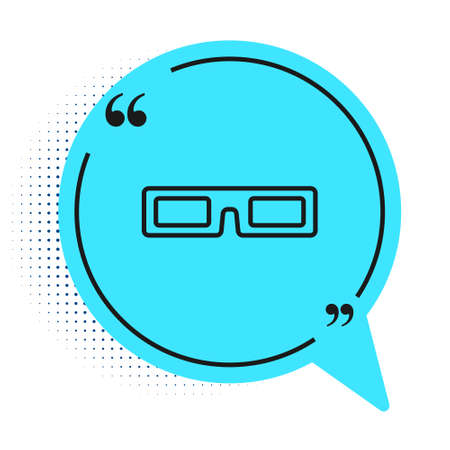 Black line cinema glasses icon isolated on white background. Blue speech bubble symbol. Vector Illustration Çizim