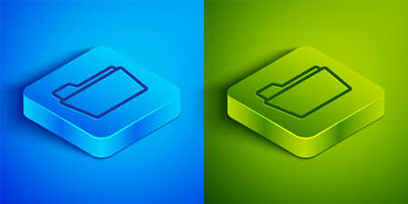 Isometric line Document folder icon isolated on blue and green background. Accounting binder symbol. Bookkeeping management. Square button. Vector Illustration