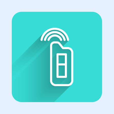 White line Car key with remote icon isolated with long shadow. Car key and alarm system. Green square button. Vector Illustration