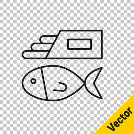 Black line Fish and chips icon isolated on transparent background. Vector