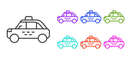 Black line Taxi car icon isolated on white background. Set icons colorful. Vector