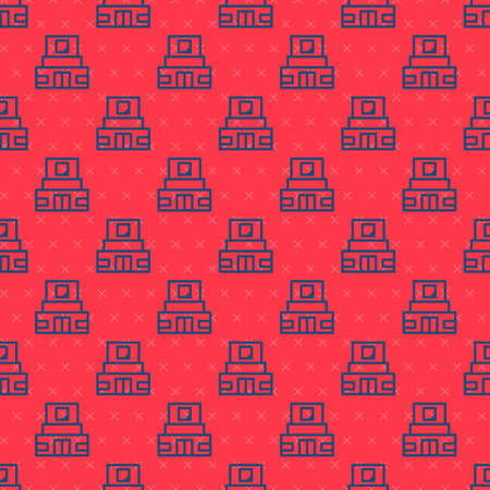 Blue line Mausoleum of Lenin icon isolated seamless pattern on red background. Russia architecture landmarks, sightseeing places. Royal Citadel at Red Square, Moscow. Vector Иллюстрация