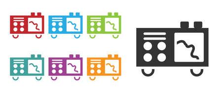 Black Spectrometer icon isolated on white background. Set icons colorful. Vector Çizim