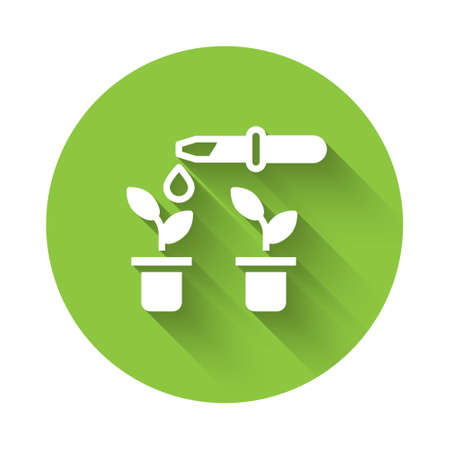 White Drop of water drops from pipette on plant icon isolated with long shadow. Medical or agricultural experiments. Fertilizers and pesticides. Green circle button. Vector