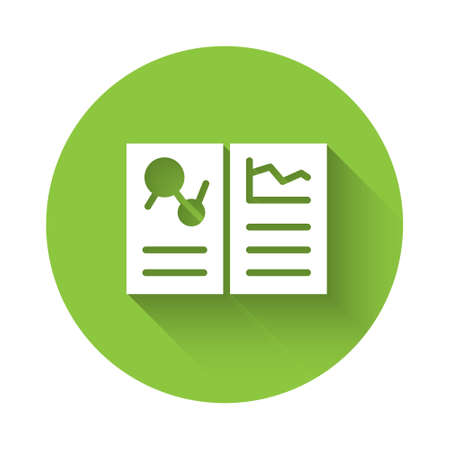 White Medical clipboard with clinical record icon isolated with long shadow. Health insurance form. Prescription, medical check marks report. Green circle button. Vector