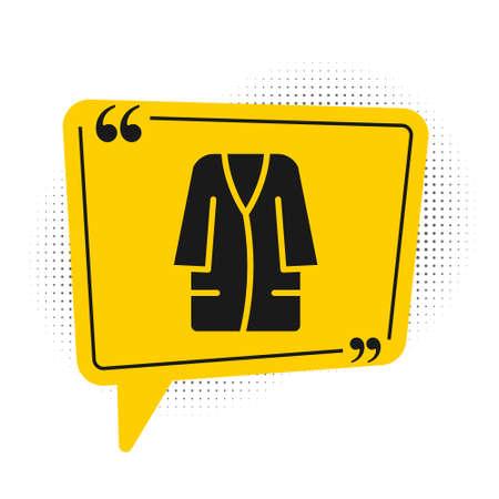 Black Bathrobe icon isolated on white background. Yellow speech bubble symbol. Vector