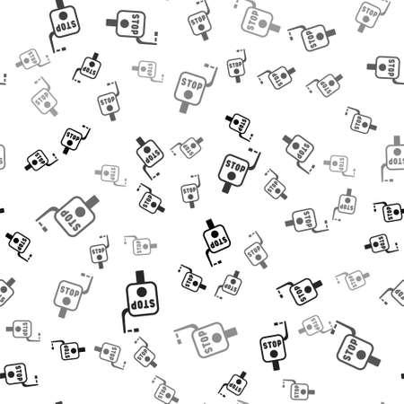 Black Emergency brake icon isolated seamless pattern on white background. Vector Illustration