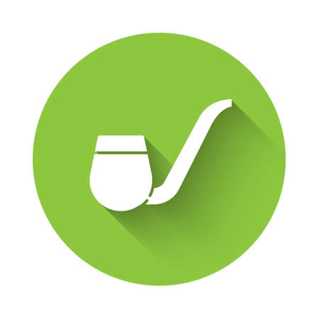 White Smoking pipe with smoke icon isolated with long shadow. Tobacco pipe. Green circle button. Vector